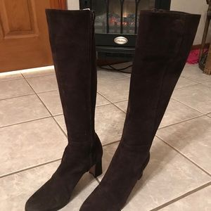Chanel Suede brown boots size 7.5 fits 7 w bag.